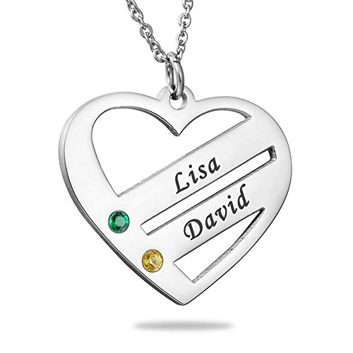 HooAMI Personalized Double Heart Couple Family Friendship Necklace Birthstones Pendant - Custom Made with 2 Names Best Gift for Mum