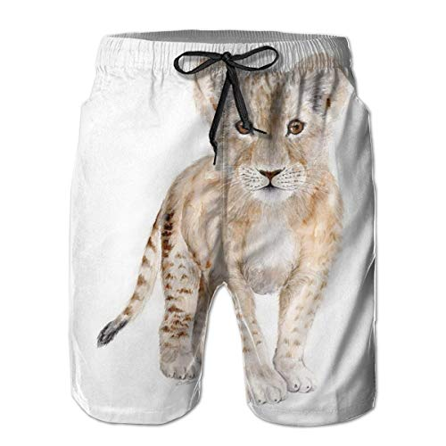 LREFON Pantalones Cortos de Playa para Hombre de Secado rápido con Forro de Malla para bebé León Bañador para Surf con Tasche 2XL