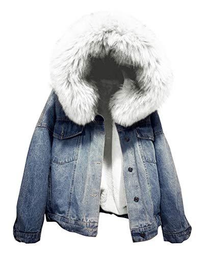 Yesgirl Gefütterte Jeansjacke mit Fellkapuze Winter Mantel Winterjacke Kurz Outwear Denim Jacke Langarm Kapuzenjacke A Weiß Large