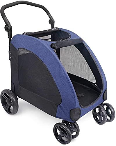 TETHYSUN Carrito de mascotas Carrito de cuatro ruedas Carrito de perro Carros de gato plegables para perros medianos y grandes, carga dentro de 60 kg (color azul)