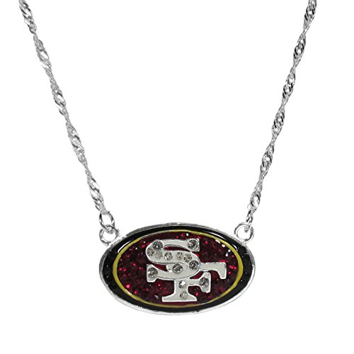 Colar NFL Siskiyou Sports feminino San Francisco 49ers logotipo cristal 40,64 cm cor do time