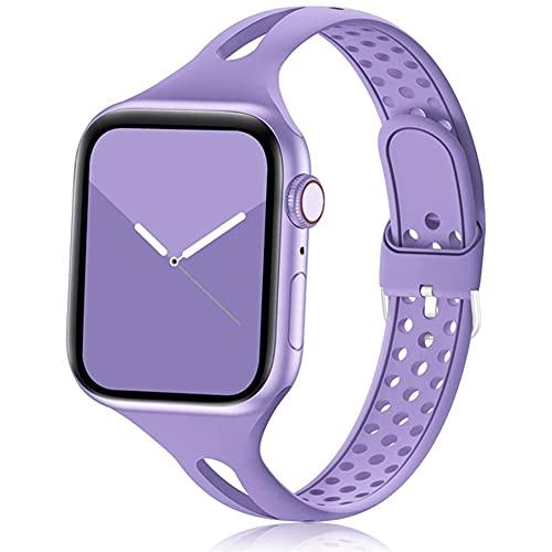 DGDD Relojes Correa Silicona Mujer - Reloj Inteligente Hombre, Correa Repuesto Reloj 38mm/40mm 42mm/44mm Compatible con Apple iWatch 3 4 5 se 6 Brazalete,Púrpura,38/40mm