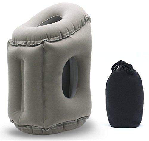 Yeying123 Inflatable Travel Pillow Schlafmittel - Flugzeug Kissen Für Langstreckenflüge & Road Trips Schnell Aufpumpen Deflate Compact,Gray,S