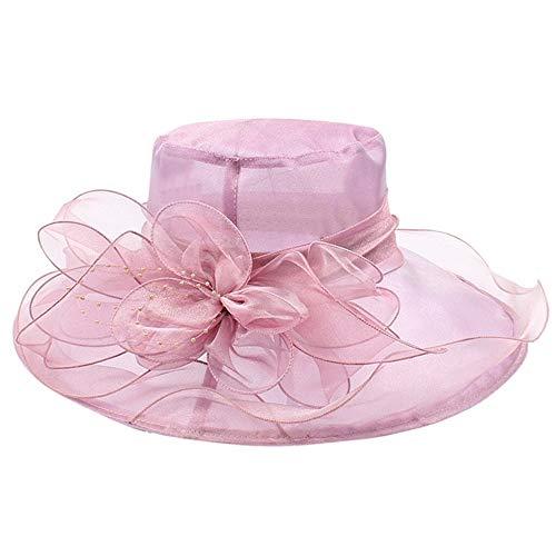 Hat dame organza kerk bruid theekransje bruiloft hoed dame hoed bot female (Color : Purple, Size : One Size)