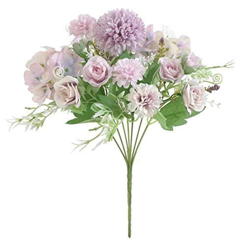 SYART Novia con Ramo de Rosas jarrones de Flores Decorativas de Boda para Accesorios de decoración del hogar Flores Artificiales para álbumes de Recortes