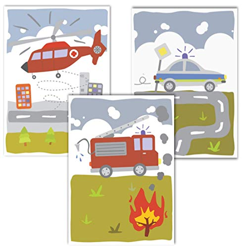 Generisch Juego de 3 pósteres de Lulupu, para habitación infantil, A4, decoración para habitación de bebé, para niños, cuadros de pared con bomberos, policía y helicóptero