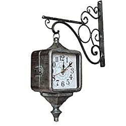 Vintage Iron Clock Mute Double-Sided Clock American Rural Living Room Wall Clock Wall Hanging Table