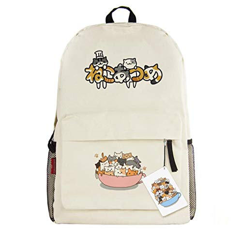 Cosstars Neko Atsume Cat Anime Cosplay Daypack Casual Backpack Day Trip Travel Bag Beige /3