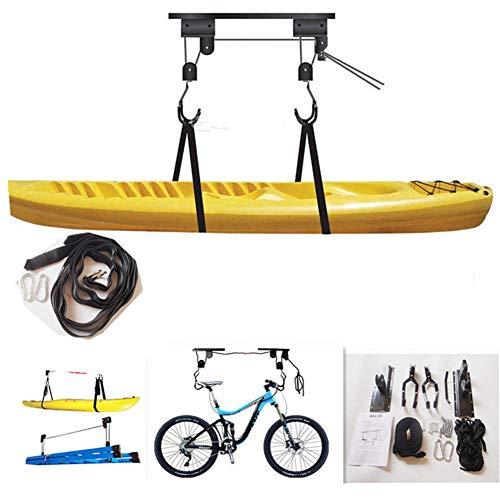 Kayak Hoist Lift Garage Lagerung Kanu Hoists 110 Lb Kapazität - Innen Decke hängend Pulley-Zahnstange für Paddle Board, Snowboard, Surfbrett, Wake Board Bike