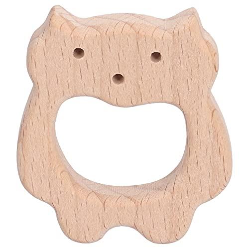 Colgante de collar, mordedor para bebé, juguete para masticar bebé, 5 piezas juguetes de madera para la dentición del bebé Artesanías con forma de oso Pulsera personalizada para bricolaje