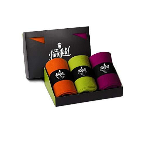 von Jungfeld - Herren Socken/Strumpf Herrensocken 3er-Pack 39-41 orange/magenta/grün