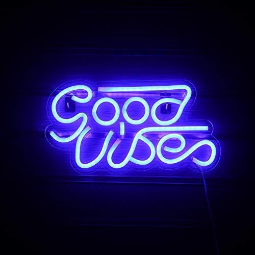 Good Vibes Letrero de neón Letreros de neón LED azules para pared Letreros de neón con decoración USB para dormitorio Navidad Día de San Valentín Regalo de fiesta de cumpleaños (Azul)