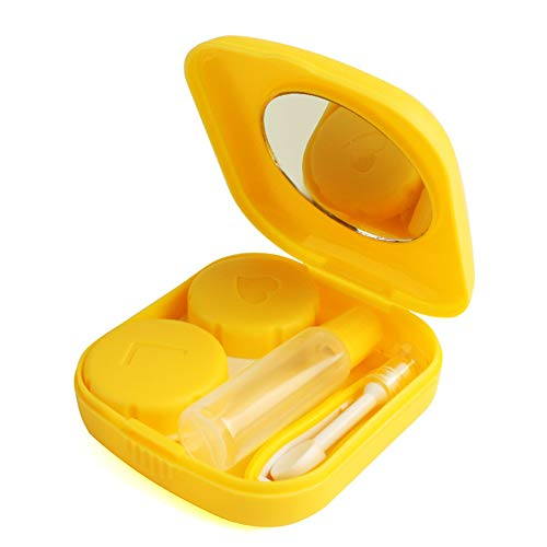 Cute Pocket Mini Contact Lens Case Travel Kit Easy Carry Mirror Container Holder Yellow