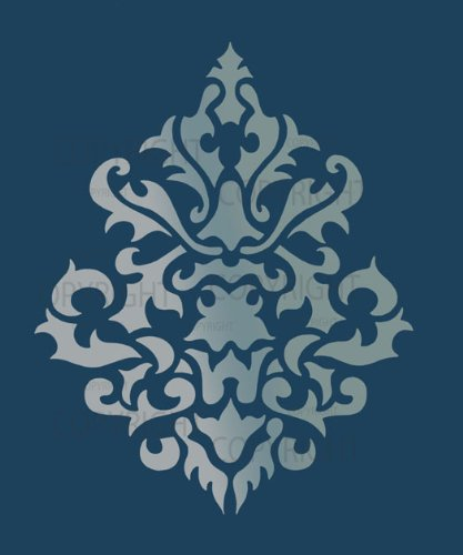 "Large Wall Damask Stencil Faux Mural Design #1011 (11"" x 13 1/4"" )"