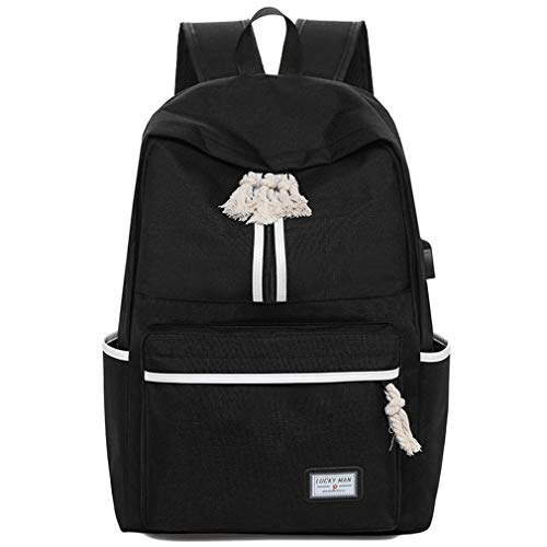 Men Laptop Backpack Large Capacity Cotton and linen Unisex College Student Casual School Backpack Anti-thief (black)