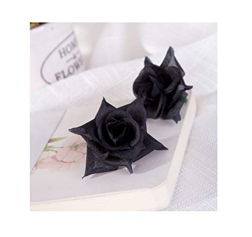 Flores Artificiales Negras 100pcs Flores Rosas Artificiales Decoración para Decoración de Bodas Hogar Jardín Fiesta, Negra