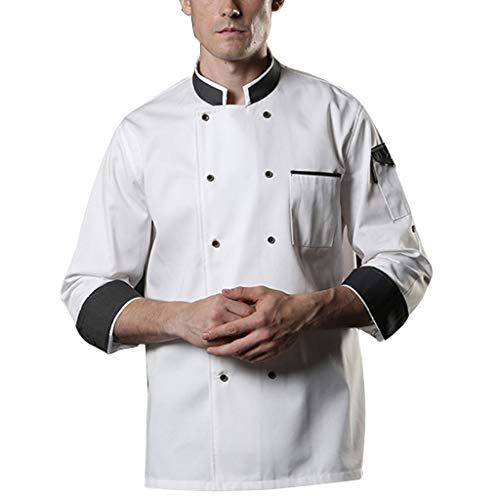 Cocinero Chaqueta Uniforme Unisexo Restaurante Cocina Largo Mangas Fresco Ligero (Color : White, Size : XXL)