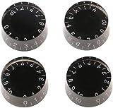 Pichidr-JP エレキギター用 ボリューム ノブ トーン コントロール 交換用 LP SGエレキギター ベース用 ボリューム トーン コントロールボタン スイッチ ノブ 回転つまみ ノブキャップ ギターパーツ 4個 ブラック