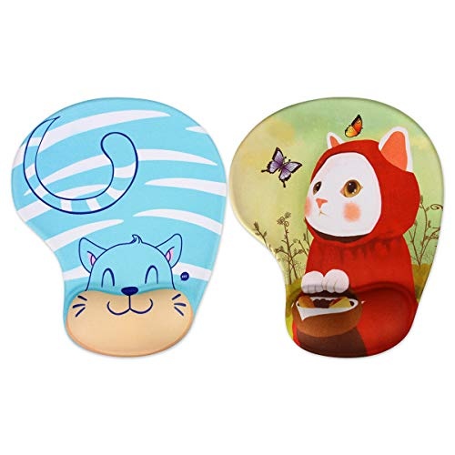 MARCELEN Tappetino Mouse con Poggiapolsi al Gel 2020 Nuovo Gaming Mouse Pad Ergonomico Base in Gomma Antiscivolo per PC Notebook e Laptop Tappetino Mouse 1 Gatto Rosso + 1 Gatto Blu