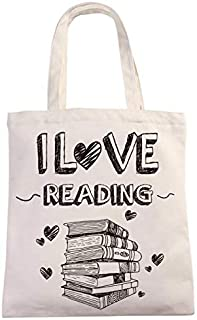 I Love Reading Natural Cotton Canvas 12 Oz Reusable Hand Made Tote Bag | Library Tote for Kids | School Bag with Printed L...
