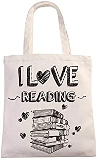 I Love Reading Natural Cotton Canvas 12 Oz Reusable Hand Made Tote Bag   Library Tote for Kids   School Bag with Printed Library Book