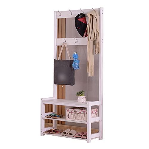 LM-Coat rack XINGLL Percheros Pie Perchero, Estante Almacenamiento Independiente con Banco, 3 En 1, Ideal para Pasillo Dormitorio Entrada Oficina, Ropa, Zapato, Bolso, Sombrero, Colgante
