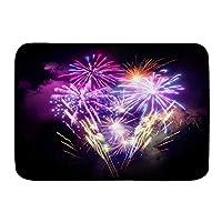 VINISATH バスマット 風呂マット 紫の花火カラフルな花火の夜の風光明媚な新年のお祝いのデザイン 足拭きマット 吸水 速乾 滑り止め 浴室 洗面所 脱衣所 風呂 台所 キッチン玄関マット(45x75cm)