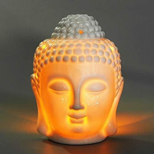 ONEVER Buddha Kopf Keramik Hohl Aromatherapie Ofen Öl Kerzenbrenner Für Yoga Oder Meditation Raum Oder Heimdekoration 10 cm X 14 cm