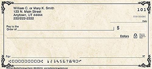 The Bradford Exchange Personal Checks | Top Tear Printed Personal Checks with Classic Elegant Scroll | Parchment | 4 Box Checks Personal Singles / 480 Checks (1 Scene)