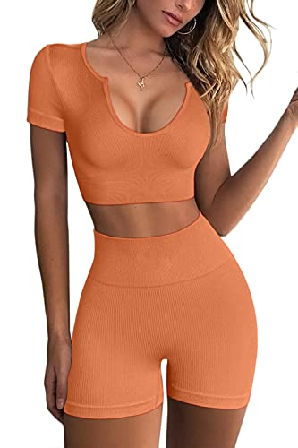 FAFOFA Seamless Workout Sets Cropped Tops for Women Ribbed 2 Piece Yoga Outfits Active Sport Shorts S