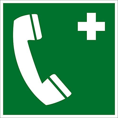 Rettungszeichen - Notruftelefon - Kunststoff - Langnachleuchtend - 10 x 10 cm