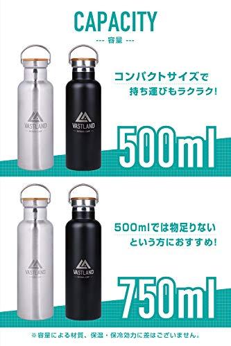 VASTLAND(ヴァストランド) 水筒 ステンレスボトル マグボトル 直飲み 二重断熱構造 500ml シルバー