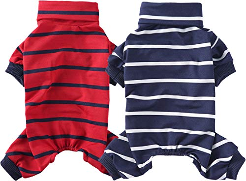 HOODDEAL 2-Pack Dog Shirts Striped Turtleneck Puppy Pajamas Comfy Warm Pullover Jumpsuits Cute Doggie Kitty Outfits (L)