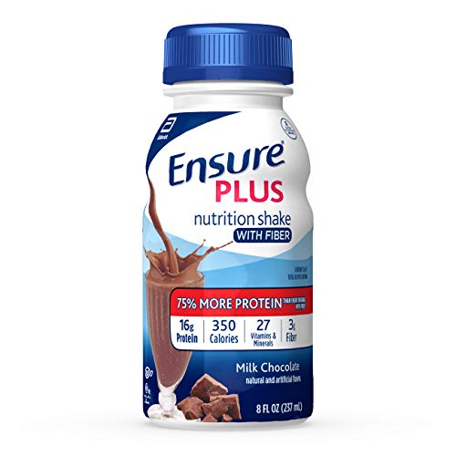 Ensure Plus Nutrition Shake with Fiber, with 13 grams of high-quality protein, Meal Replacement Shake, Milk Chocolate, 8 fl oz, 24 count