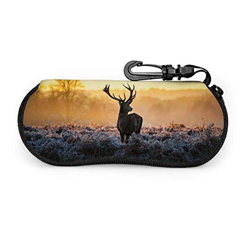 Glasses Case Reindeer Soft Sunglasses Case Light Portable Neoprene Zipper Case Protective Holder Storage Pouch With Belt Clip