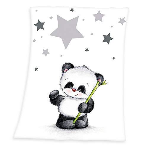Herding Fynn Babydecke, Panda Motiv, 75 x 100 cm, Microfaserflausch, Weiß