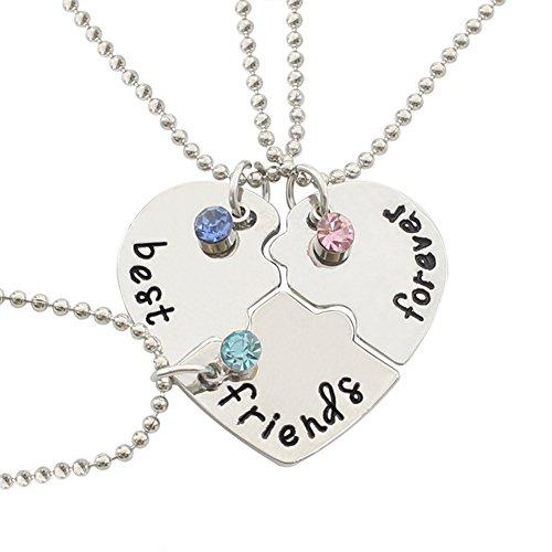 MSYOU - Collana creativa con simbolo dell'amicizia in tre pezzi con inciso 'Best', 'Friends', 'Foverver', con strass, idea regalo per migliori amici e partner