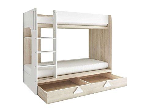 AVANTI TRENDSTORE - Miko - Letto a Castello in Imitazione di Quercia Sonoma/Bianco, con scaletta e cassettone Integrato. Dimensioni Lap 204x159x107 cm