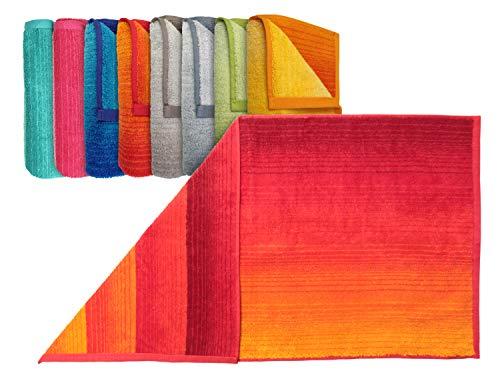 """Bio-Handtuchserie """"Colori"""" - erhältlich in 8 brillanten Farbkombinationen und 3 verschiedenen Größen – hochwertig verarbeitet und mit praktischem Kordelaufhänger, Duschtuch 70 x 140 cm, rot"""