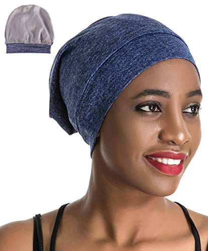 Slap Night Cap Sleep Hat Beanie - Blue Women Organic Bamboo Satin Silk Lined Bonnet Summer Scarf Hair Cover for Women Lady Lightweight Light Thin Jersey Chemo Christmas Santa Day Gifts for Women