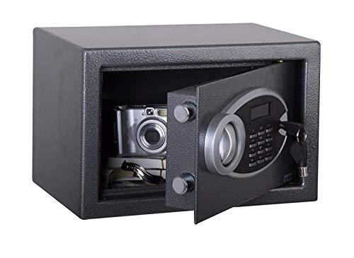 Cassaforte da Incasso a Muro Elettronica Numerica in Acciaio con Display Digitale Hotel 35X25X25 + 4 BATTERIE