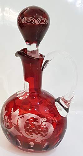 Oberstdorfer Glashütte Caraffa di Vetro Antico, Originale Egermann, Bottiglia di Vetro balenó soffiato con la Bocca Taglio della Mano in Colore Rosso e Chiaro, Altezza Circa 27,5 Centimetri