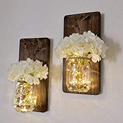 Set of Two Lighted Sconces Country Rustic Mason Jar Wall Sconce Hanging Lantern LED Fairy Lights and White Hydrangea Sprays