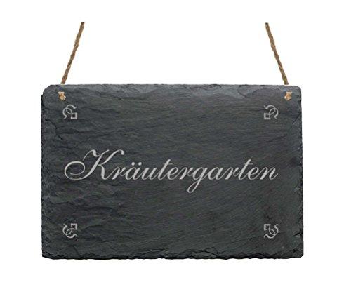 Wetterfeste Schiefertafel « KRÄUTERGARTEN » Dekoschild Kräuter Garten - das perfekte Geschenk für Gärtner - Gärtnerei Gartenarbeit