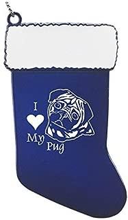 Pewter Christmas Stocking Ornament-I love my Pug-Blue