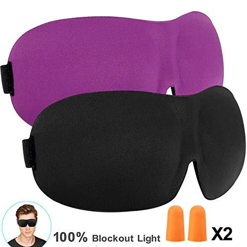 Schlafmaske 2 Pack, hautfreundlich leichte Augenmaske mit verstellbarem Gurt Schlafmaske 3d für Männer, Frauen - ideal für Reisen (Schwarz/Lila)