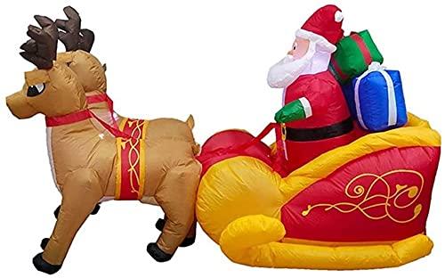 wsbdking Navidad Decor Elk Sled Santa Claus Regalo con DIRIGIÓ Navidad Inflable 220 cm de Altura decoración estacional al Aire Libre Airblown Adorno de jardín Regalo