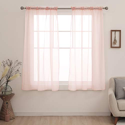 Deconovo Pink Sheer Curtains 63 Inch Length-Rod Pocket Voile Drape Sheer Curtains for Bedroom 54x63 Inch Pale Pink 2 Panels