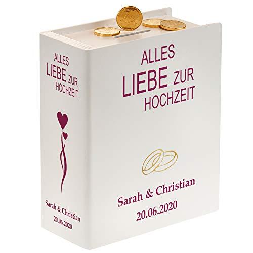 Schönes Sparbuch zur Hochzeit mit Personalisierung (Weiß - Herzen & Ringe) - originelles Geldgeschenk & Hochzeitsgeschenk für das Brautpaar