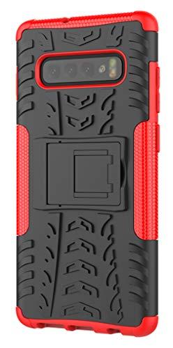 XINFENGDI Funda Samsung Galaxy S10 Plus, Carcasa Dura Protección 360° Cubiertas Móviles Anticaídas Resistente Arañazos TPU Caso Protector para Samsung Galaxy S10 Plus con Soporte de Pie - Rojo